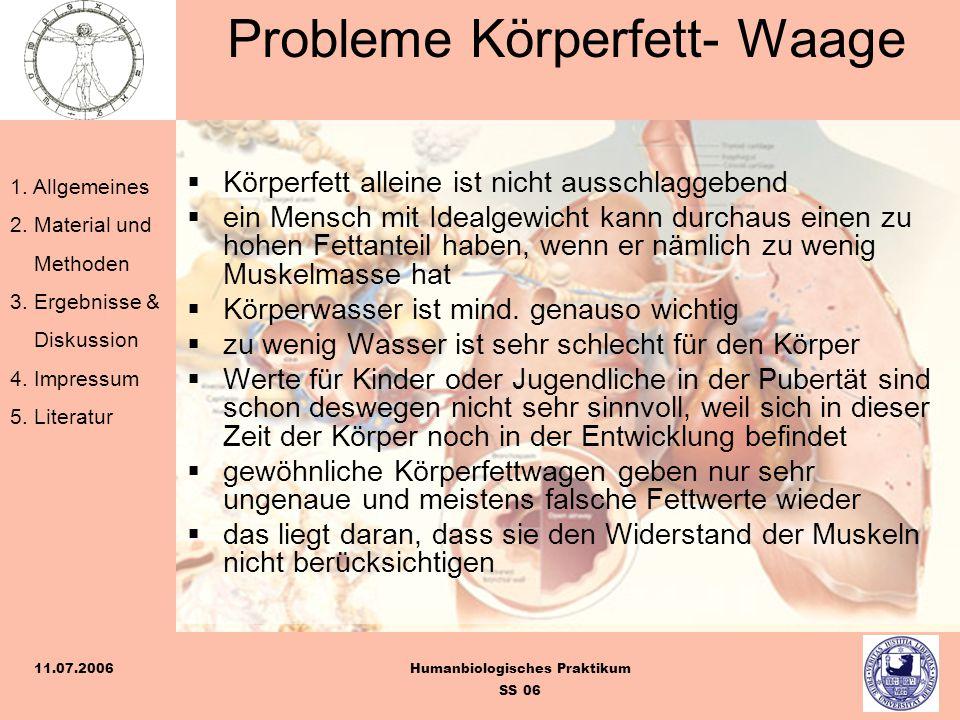 1. Allgemeines 2. Material und Methoden 3. Ergebnisse & Diskussion 4. Impressum 5. Literatur Humanbiologisches Praktikum SS 06 11.07.2006 Probleme Kör
