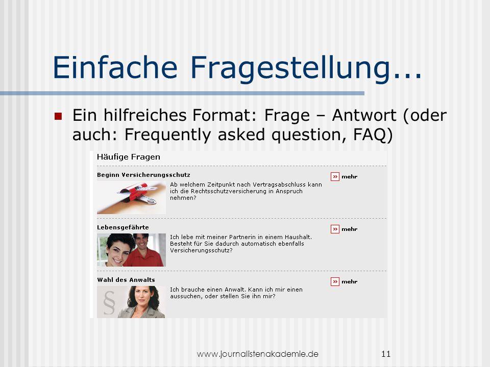 www.journalistenakademie.de 11 Einfache Fragestellung... Ein hilfreiches Format: Frage – Antwort (oder auch: Frequently asked question, FAQ)