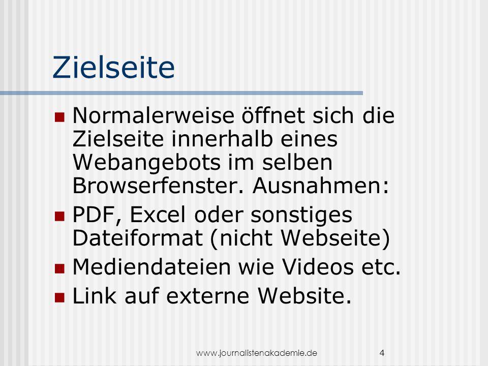 www.journalistenakademie.de 4 Zielseite Normalerweise öffnet sich die Zielseite innerhalb eines Webangebots im selben Browserfenster. Ausnahmen: PDF,