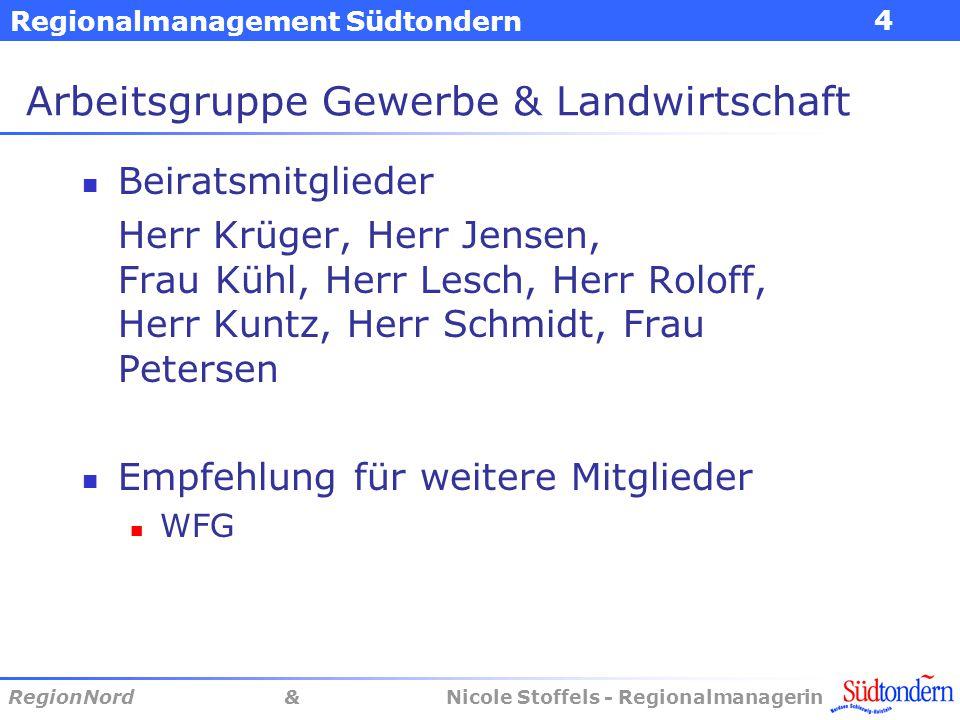 Regionalmanagement Südtondern RegionNord & Nicole Stoffels - Regionalmanagerin 4 Arbeitsgruppe Gewerbe & Landwirtschaft Beiratsmitglieder Herr Krüger,