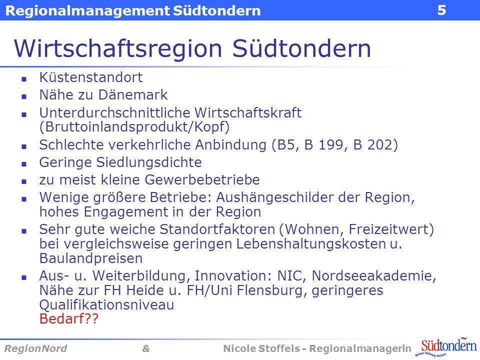Regionalmanagement Südtondern RegionNord & Nicole Stoffels - Regionalmanagerin 5 Wirtschaftsregion Südtondern Küstenstandort Nähe zu Dänemark Unterdur