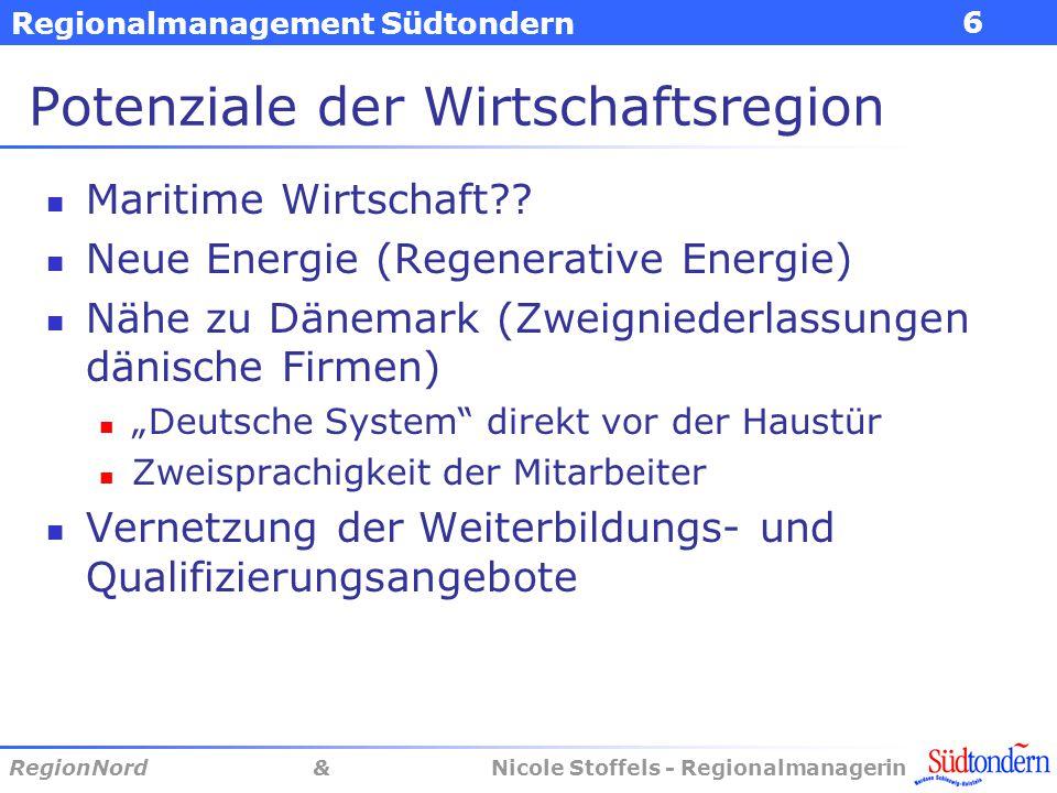 Regionalmanagement Südtondern RegionNord & Nicole Stoffels - Regionalmanagerin 6 Potenziale der Wirtschaftsregion Maritime Wirtschaft?? Neue Energie (