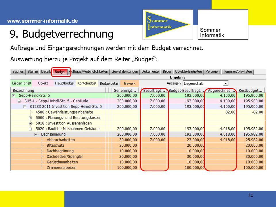 10 9.Budgetverrechnung Aufträge und Eingangsrechnungen werden mit dem Budget verrechnet.