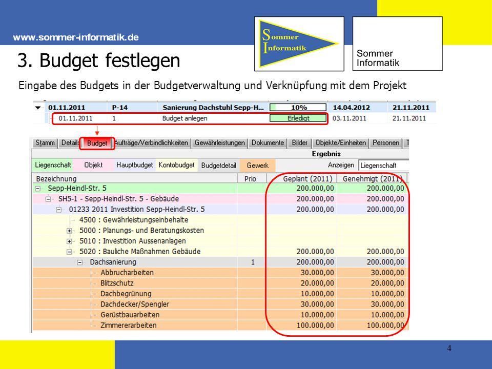 4 3. Budget festlegen Eingabe des Budgets in der Budgetverwaltung und Verknüpfung mit dem Projekt