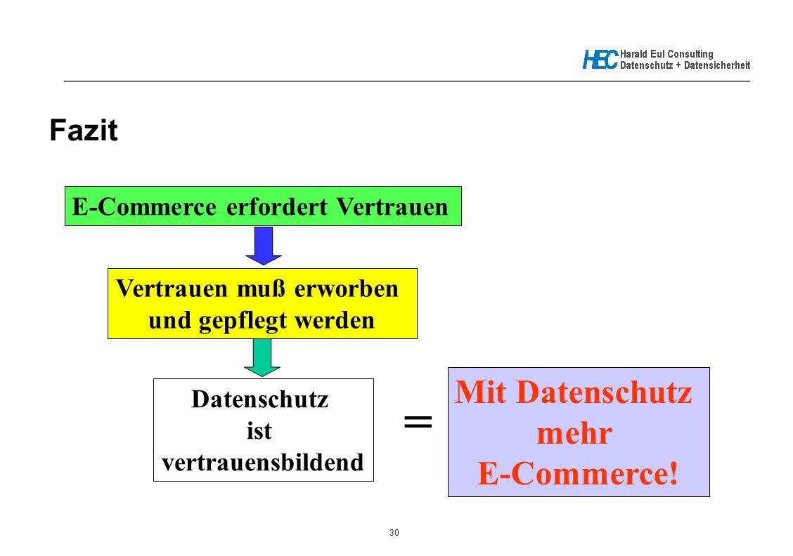 30 _____________________________________________________________ Fazit E-Commerce erfordert Vertrauen Vertrauen muß erworben und gepflegt werden Daten