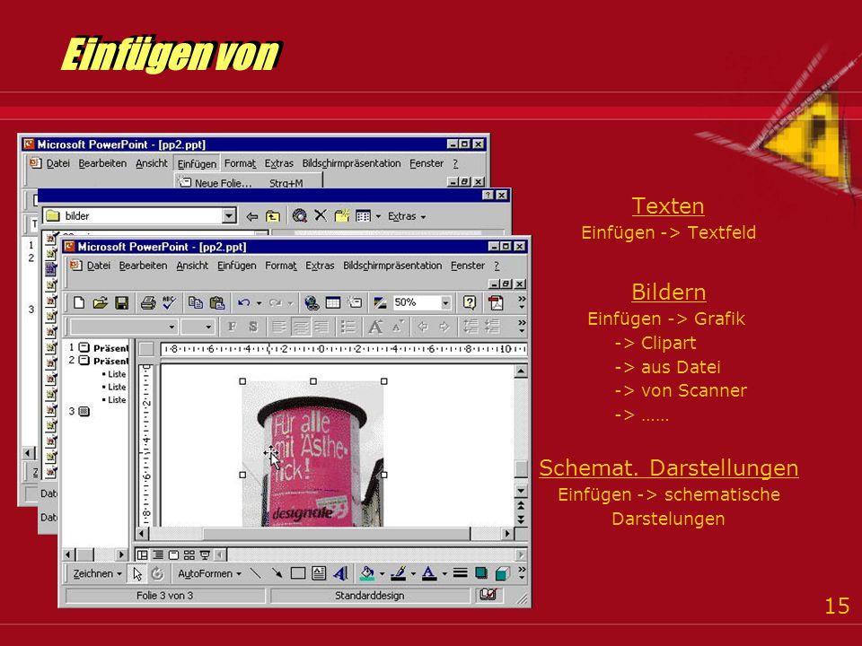 15 Einfügen von Texten Einfügen -> Textfeld Bildern Einfügen -> Grafik -> Clipart -> aus Datei -> von Scanner -> …… Schemat.