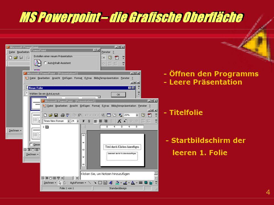 4 MS Powerpoint – die Grafische Oberfläche MS Powerpoint – die Grafische Oberfläche - Öffnen den Programms - Leere Präsentation - Titelfolie - Startbildschirm der leeren 1.