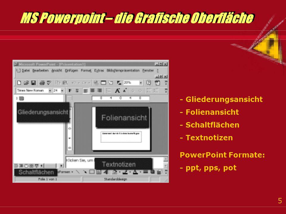 5 - Gliederungsansicht - Folienansicht - Schaltflächen - Textnotizen PowerPoint Formate: - ppt, pps, pot