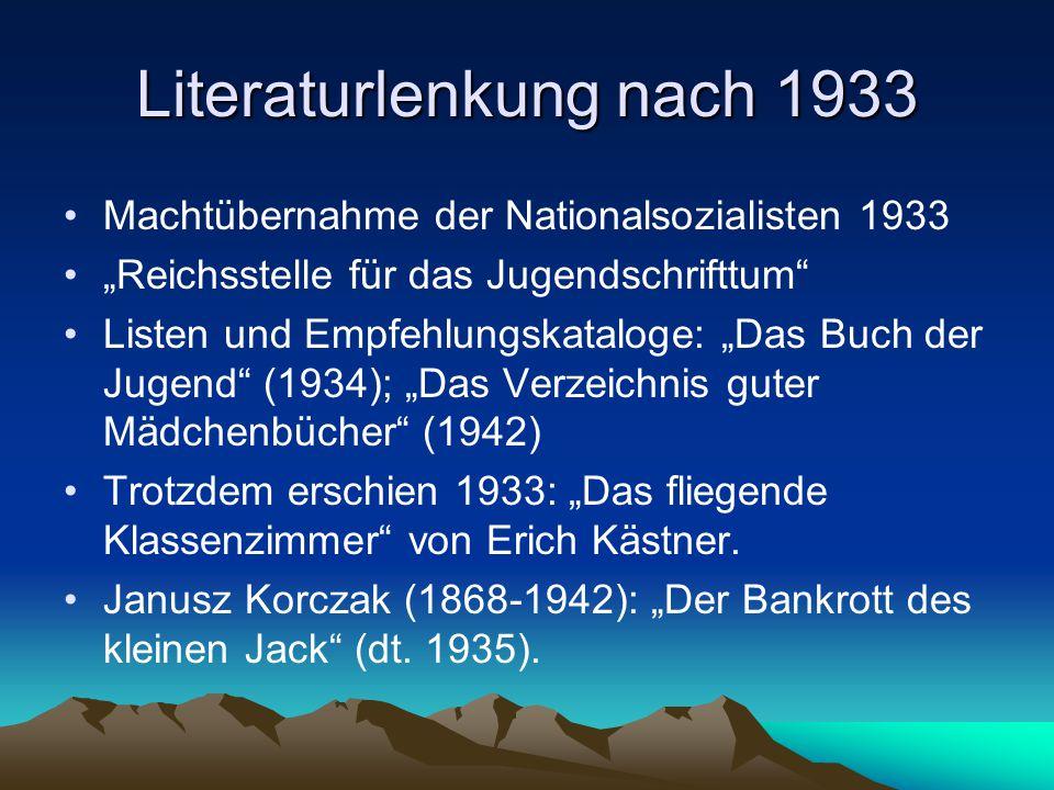 """Literaturlenkung nach 1933 Machtübernahme der Nationalsozialisten 1933 """"Reichsstelle für das Jugendschrifttum Listen und Empfehlungskataloge: """"Das Buch der Jugend (1934); """"Das Verzeichnis guter Mädchenbücher (1942) Trotzdem erschien 1933: """"Das fliegende Klassenzimmer von Erich Kästner."""