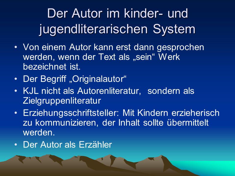 """Der Autor im kinder- und jugendliterarischen System Von einem Autor kann erst dann gesprochen werden, wenn der Text als """"sein"""" Werk bezeichnet ist. De"""