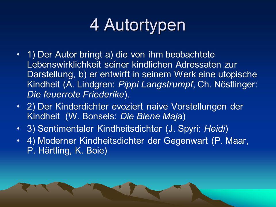 4 Autortypen 1) Der Autor bringt a) die von ihm beobachtete Lebenswirklichkeit seiner kindlichen Adressaten zur Darstellung, b) er entwirft in seinem Werk eine utopische Kindheit (A.