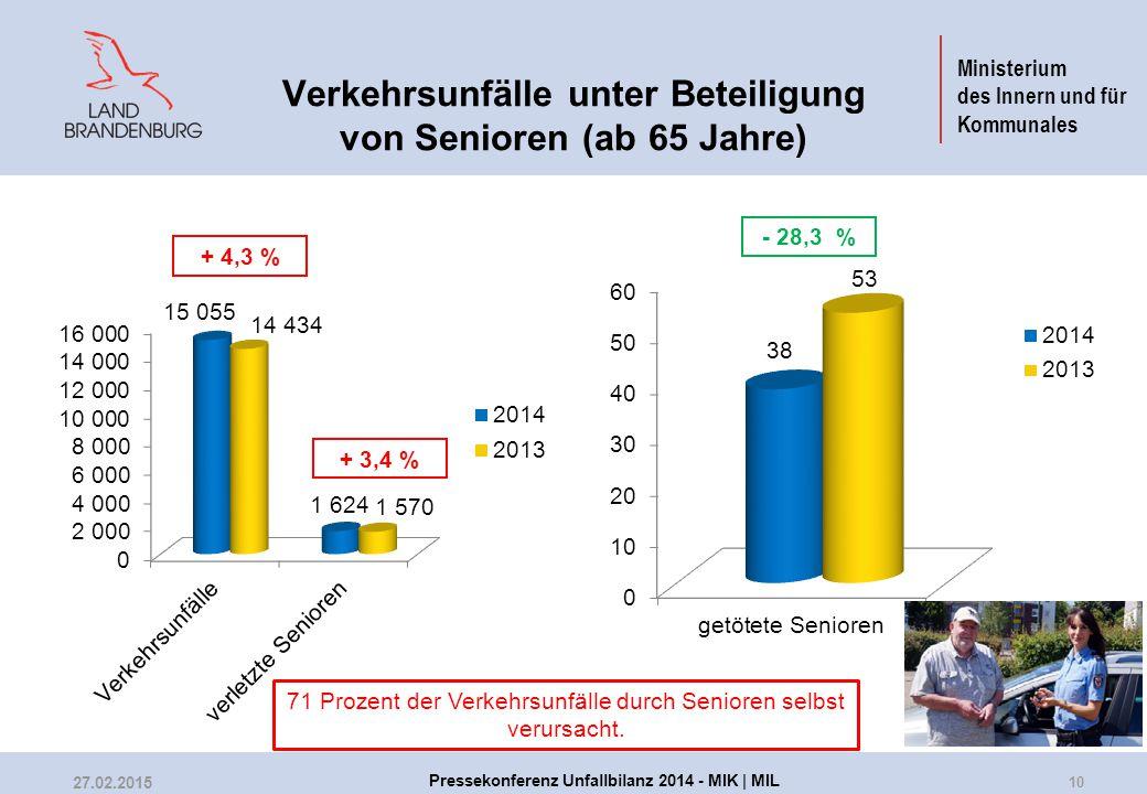 Ministerium des Innern und für Kommunales Verkehrsunfälle unter Beteiligung von Senioren (ab 65 Jahre) + 4,3 % + 3,4 % - 28,3 % 71 Prozent der Verkehr