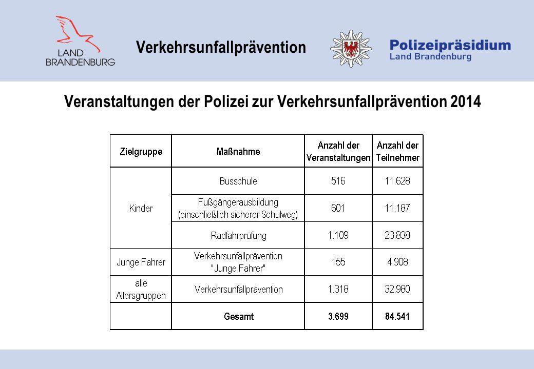 Veranstaltungen der Polizei zur Verkehrsunfallprävention 2014 Verkehrsunfallprävention