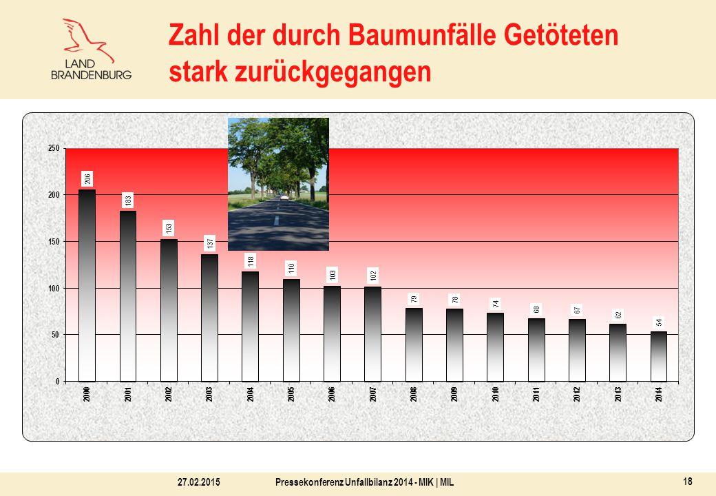 27.02.2015Pressekonferenz Unfallbilanz 2014 - MIK | MIL 18 Zahl der durch Baumunfälle Getöteten stark zurückgegangen