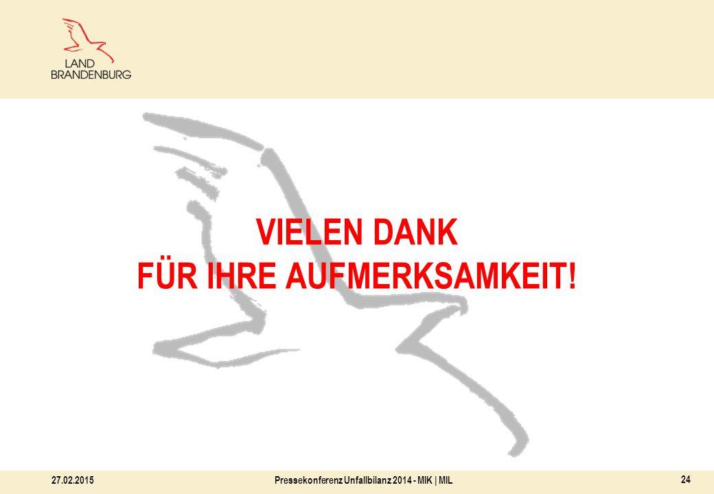 27.02.2015Pressekonferenz Unfallbilanz 2014 - MIK | MIL 24 VIELEN DANK FÜR IHRE AUFMERKSAMKEIT!