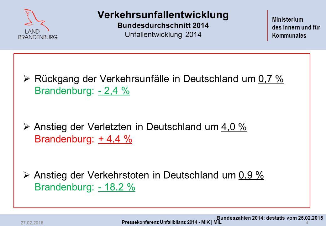 Ministerium des Innern und für Kommunales Verkehrsunfallentwicklung Bundesdurchschnitt 2014 Unfallentwicklung 2014  Rückgang der Verkehrsunfälle in D