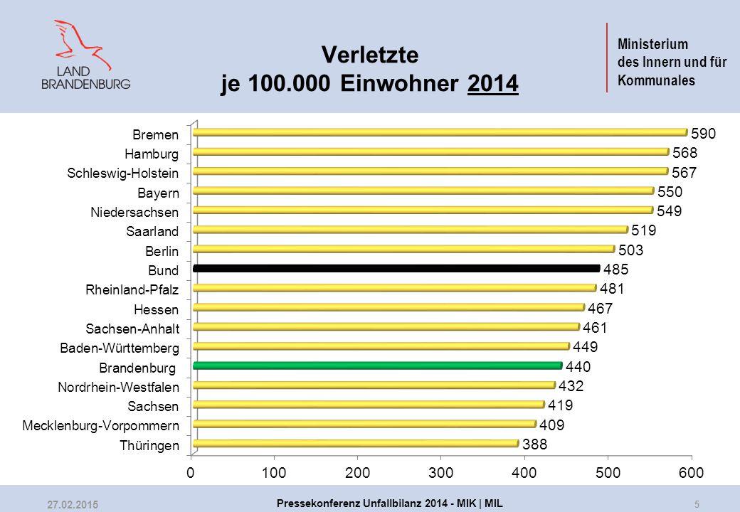 Ministerium des Innern und für Kommunales Verletzte je 100.000 Einwohner 2014 5 27.02.2015 Pressekonferenz Unfallbilanz 2014 - MIK | MIL