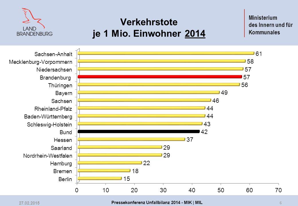 Ministerium des Innern und für Kommunales Verkehrstote je 1 Mio. Einwohner 2014 6 27.02.2015 Pressekonferenz Unfallbilanz 2014 - MIK | MIL