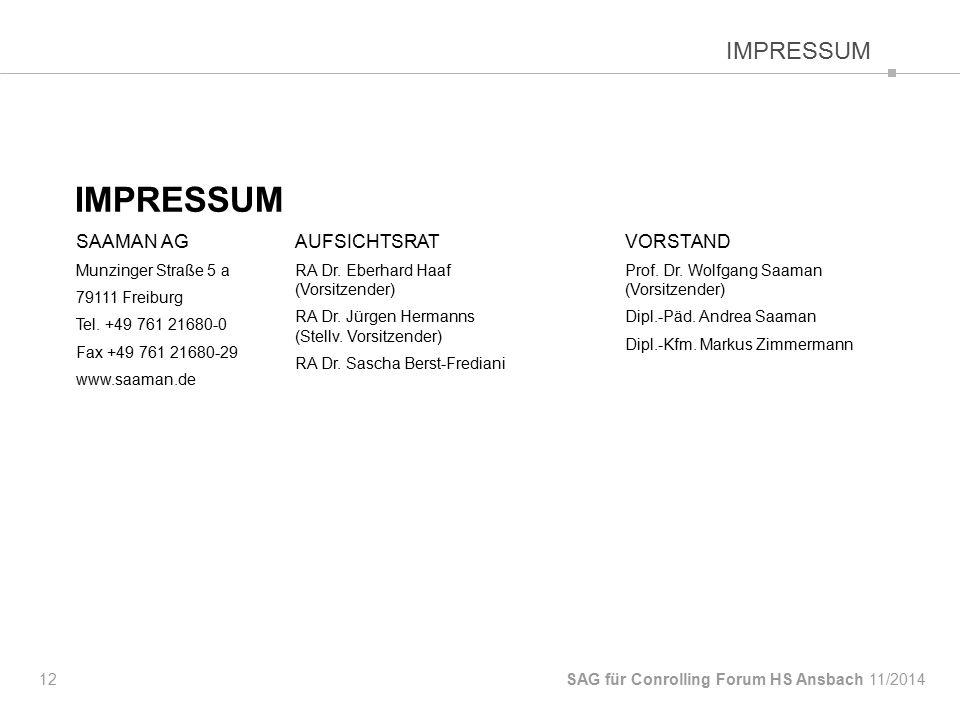 IMPRESSUM 12 SAG für Conrolling Forum HS Ansbach IMPRESSUM SAAMAN AG Munzinger Straße 5 a 79111 Freiburg Tel.