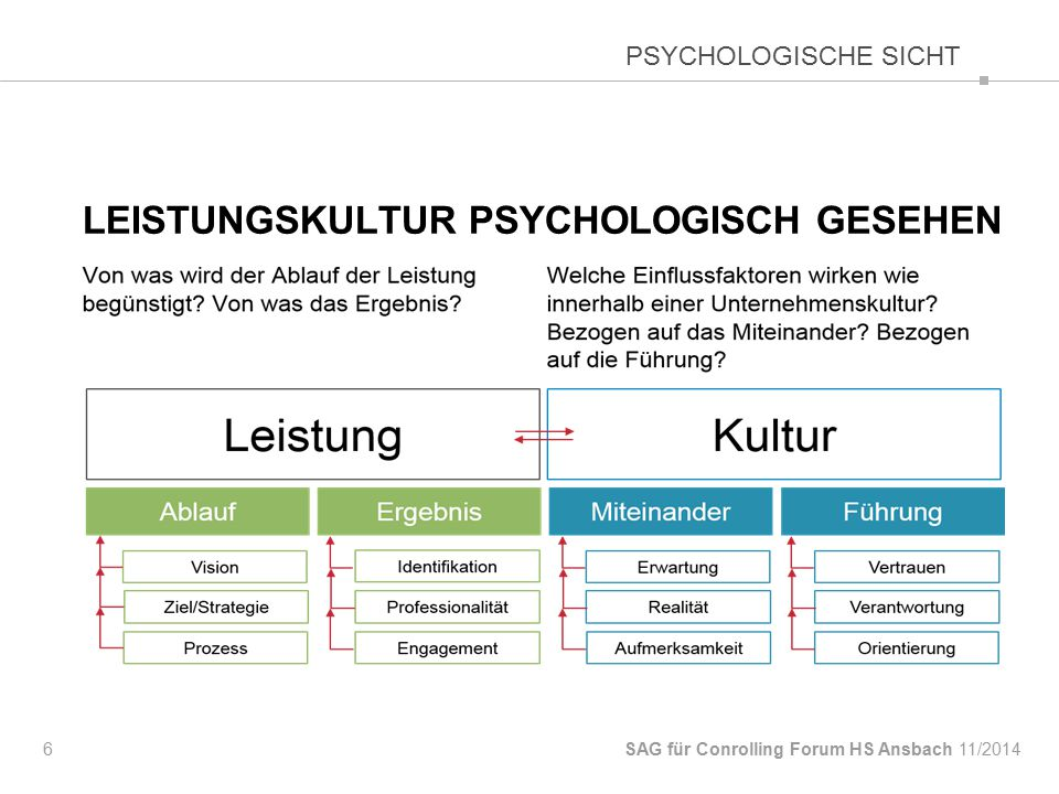 LEISTUNGSKULTUR PSYCHOLOGISCH GESEHEN 6 SAG für Conrolling Forum HS Ansbach PSYCHOLOGISCHE SICHT 11/2014