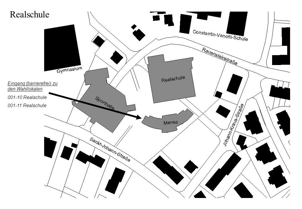 Eingang (barrierefrei) zu den Wahllokalen 001-10 Realschule 001-11 Realschule Realschule