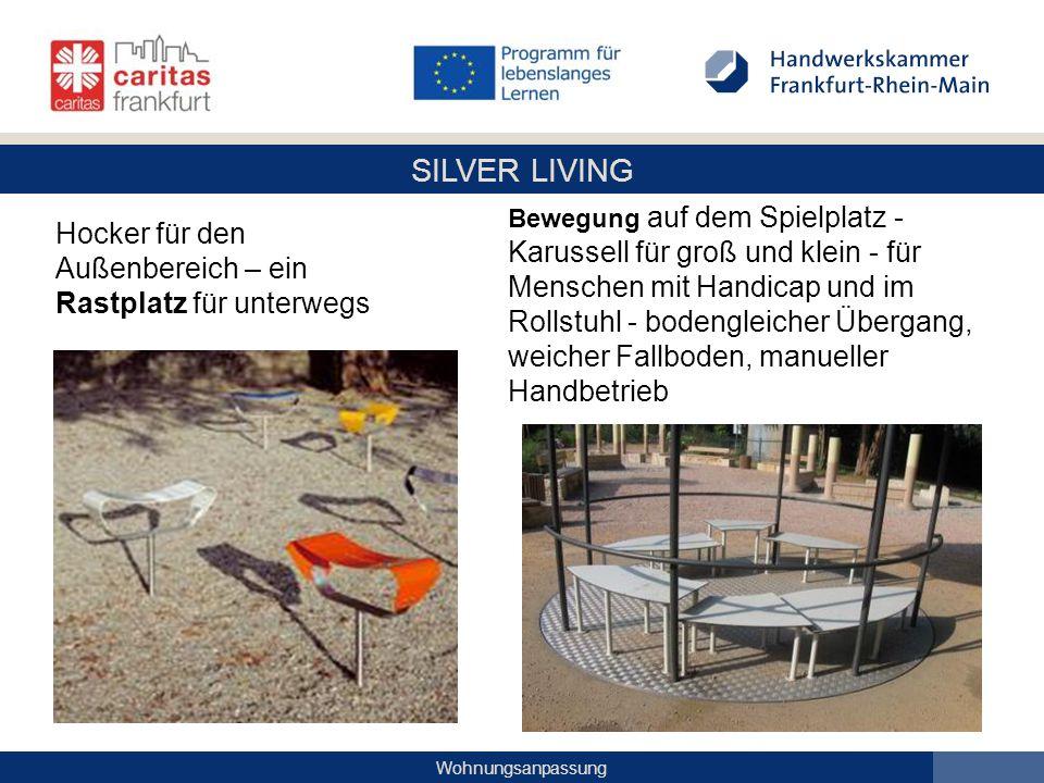 SILVER LIVING Wohnungsanpassung Bewegung auf dem Spielplatz - Karussell für groß und klein - für Menschen mit Handicap und im Rollstuhl - bodengleiche