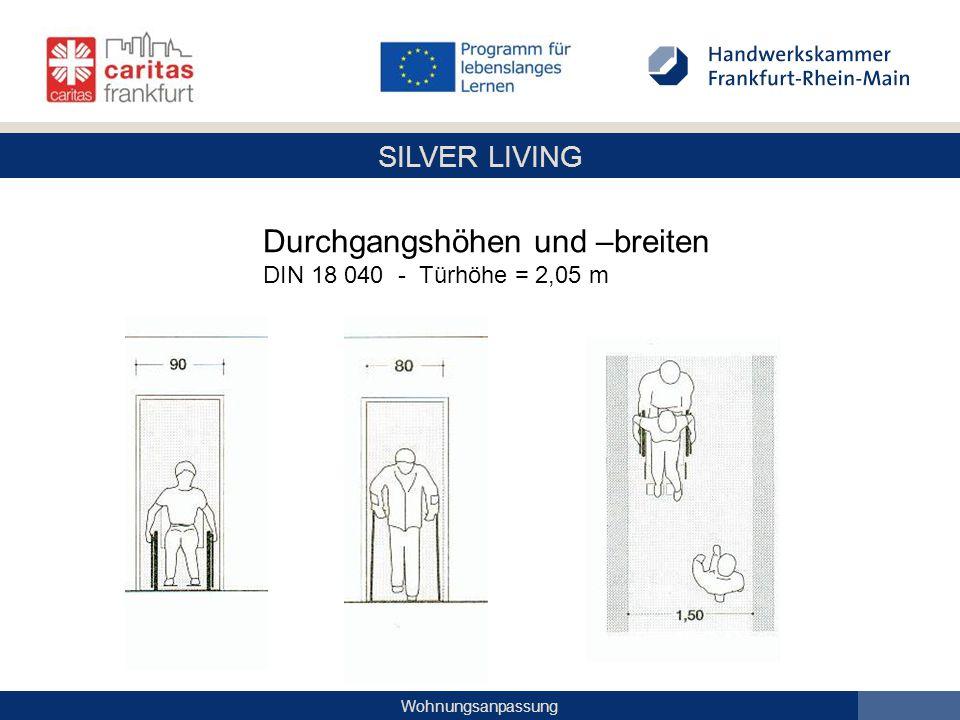 SILVER LIVING Wohnungsanpassung Durchgangshöhen und –breiten DIN 18 040 - Türhöhe = 2,05 m