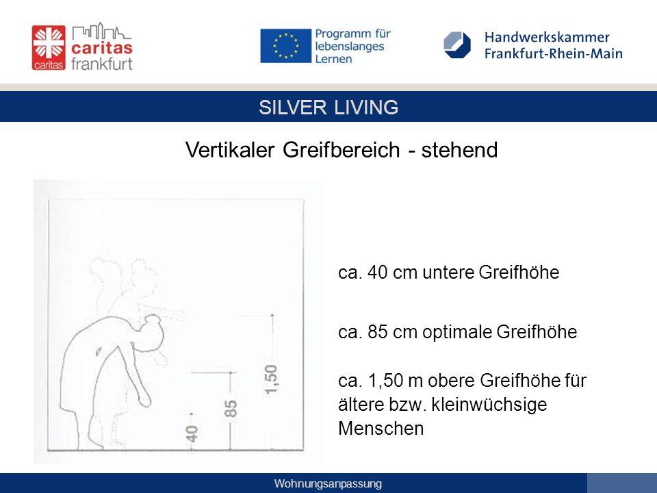 SILVER LIVING Wohnungsanpassung ca. 40 cm untere Greifhöhe ca. 85 cm optimale Greifhöhe ca. 1,50 m obere Greifhöhe für ältere bzw. kleinwüchsige Mensc