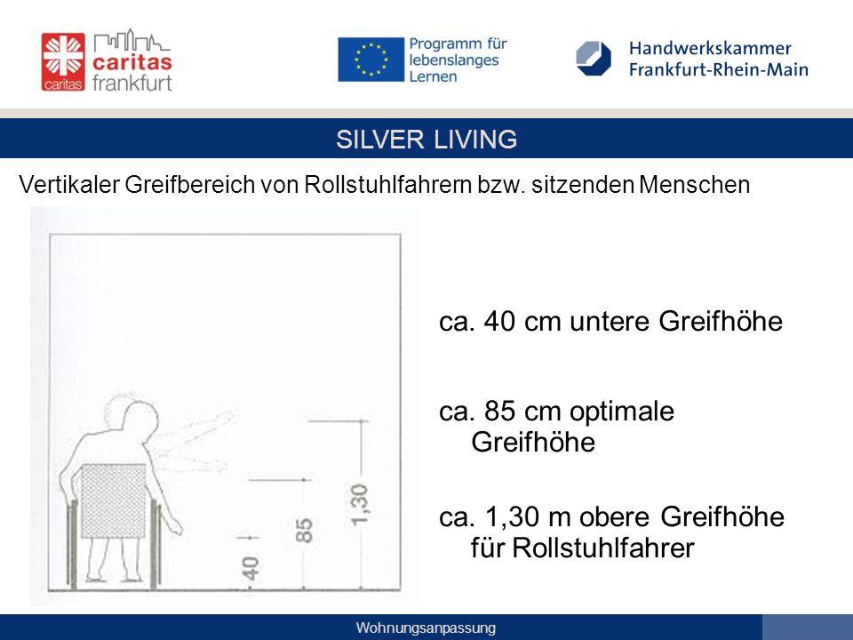 SILVER LIVING Wohnungsanpassung ca. 40 cm untere Greifhöhe ca. 85 cm optimale Greifhöhe ca. 1,30 m obere Greifhöhe für Rollstuhlfahrer Vertikaler Grei