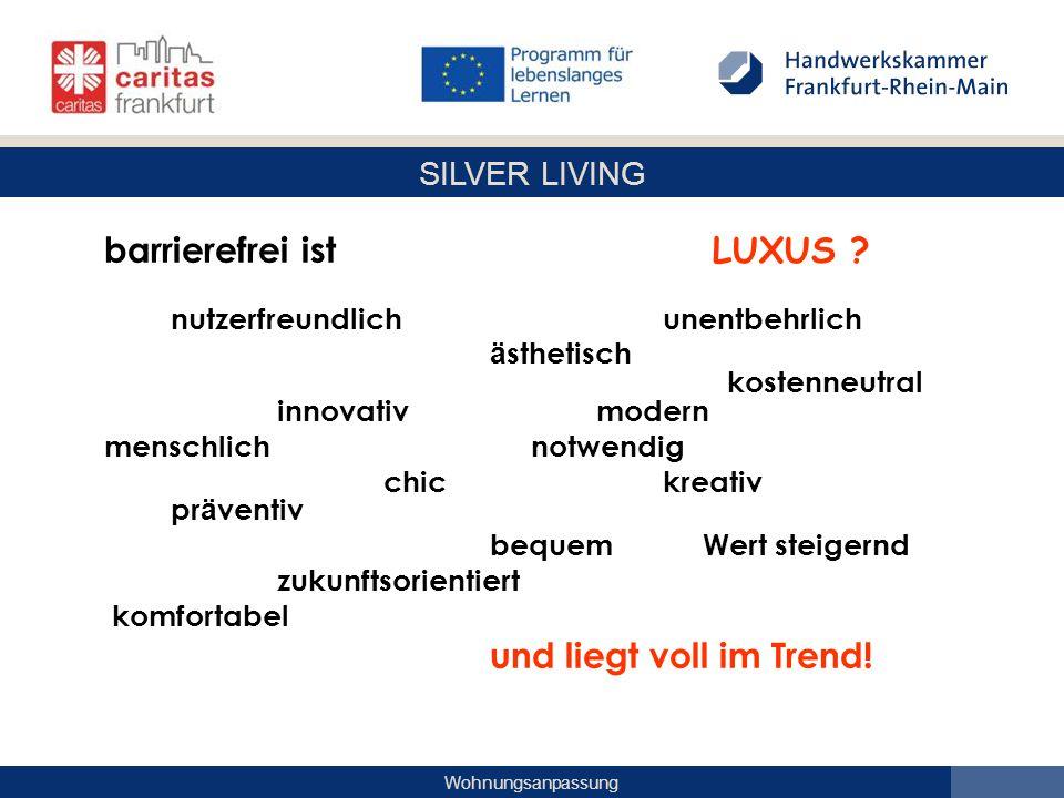 SILVER LIVING Wohnungsanpassung barrierefrei ist LUXUS ? nutzerfreundlich unentbehrlich ä sthetisch kostenneutral innovativmodern menschlich notwendig