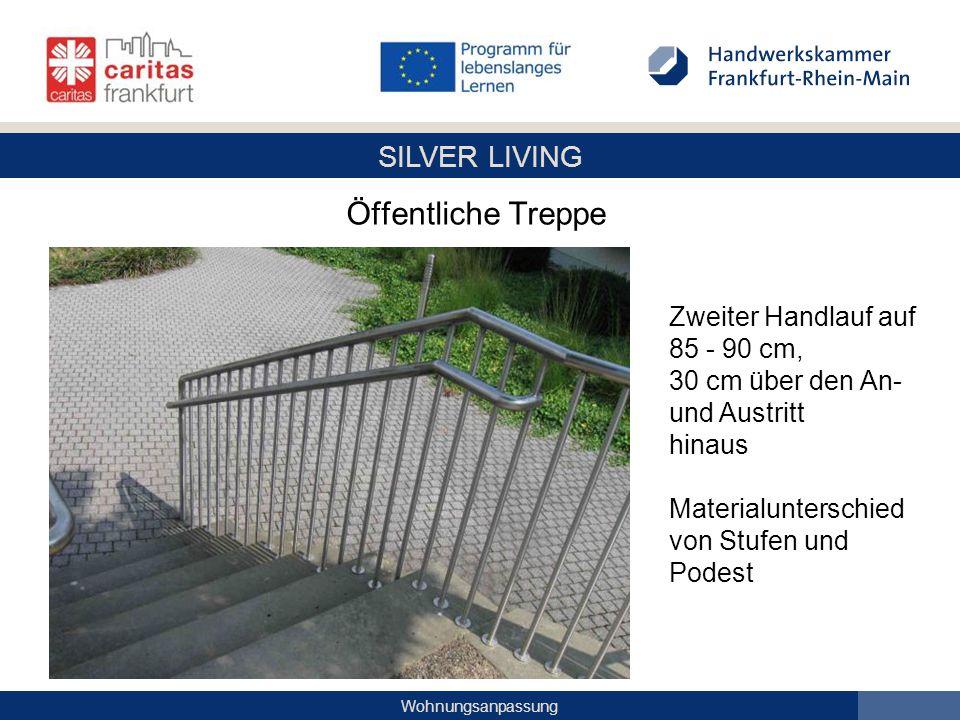 SILVER LIVING Wohnungsanpassung Öffentliche Treppe Zweiter Handlauf auf 85 - 90 cm, 30 cm über den An- und Austritt hinaus Materialunterschied von Stu