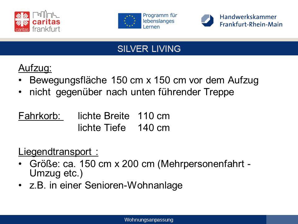 SILVER LIVING Wohnungsanpassung Aufzug: Bewegungsfläche 150 cm x 150 cm vor dem Aufzug nicht gegenüber nach unten führender Treppe Fahrkorb: lichte Br