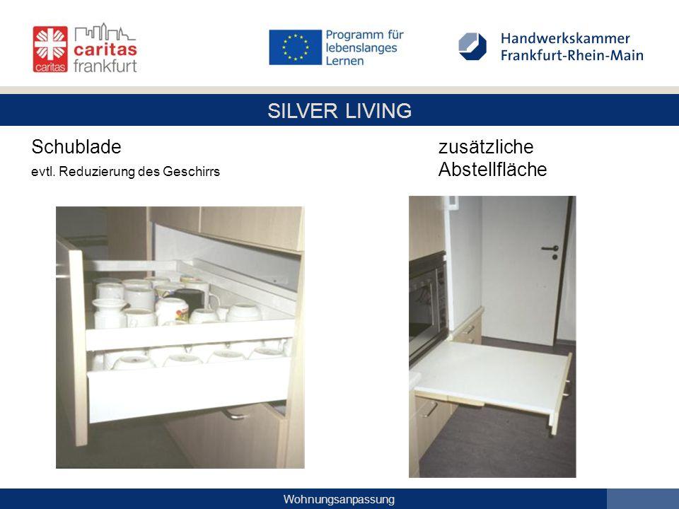 SILVER LIVING Wohnungsanpassung Schublade zusätzliche evtl. Reduzierung des Geschirrs Abstellfläche