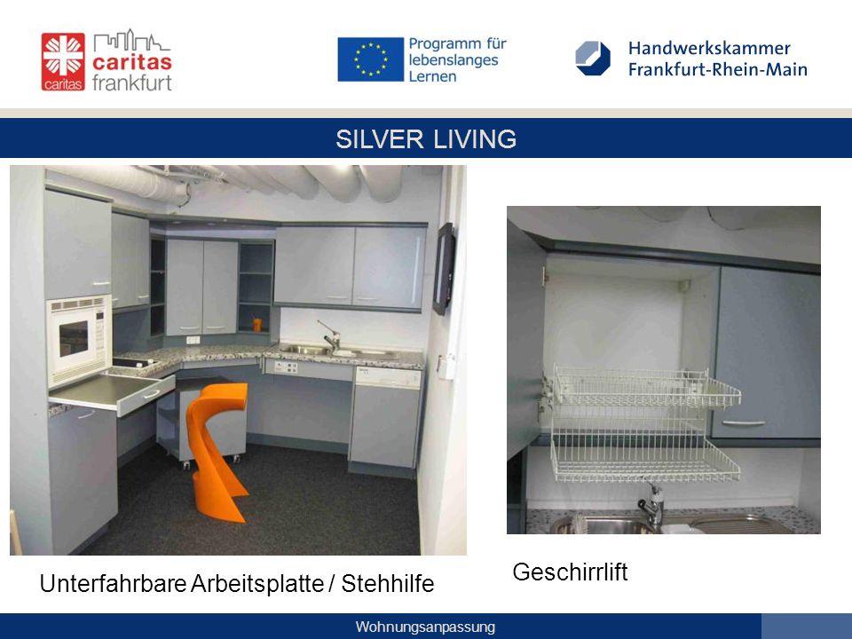 SILVER LIVING Wohnungsanpassung Geschirrlift Unterfahrbare Arbeitsplatte / Stehhilfe