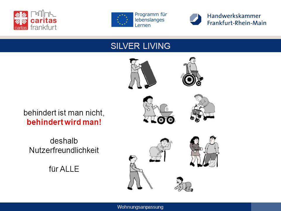 SILVER LIVING Wohnungsanpassung Ihr Empfang – abgesenkter, unterfahrbarer Bereich für Gespräche mit Menschen im Rollstuhl – großen und kleinen Menschen