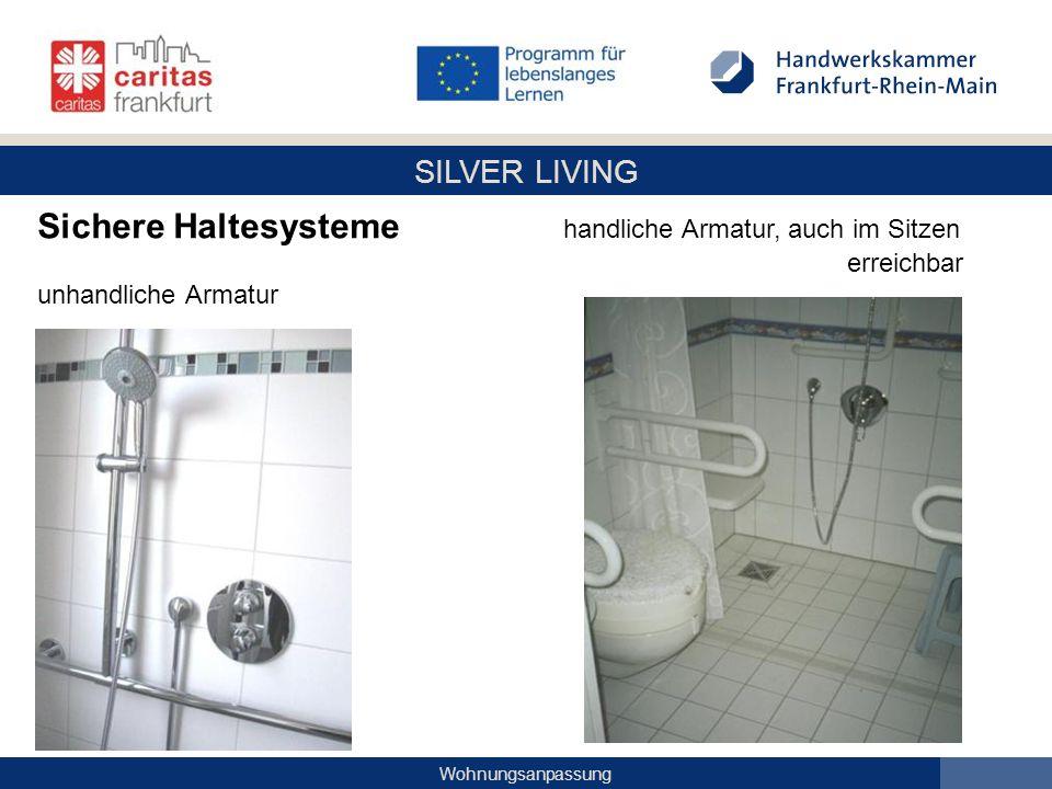 SILVER LIVING Wohnungsanpassung Sichere Haltesysteme handliche Armatur, auch im Sitzen erreichbar unhandliche Armatur