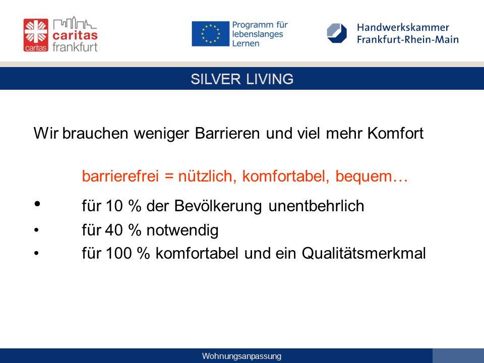 SILVER LIVING Wohnungsanpassung Wir brauchen weniger Barrieren und viel mehr Komfort barrierefrei = nützlich, komfortabel, bequem… für 10 % der Bevölk