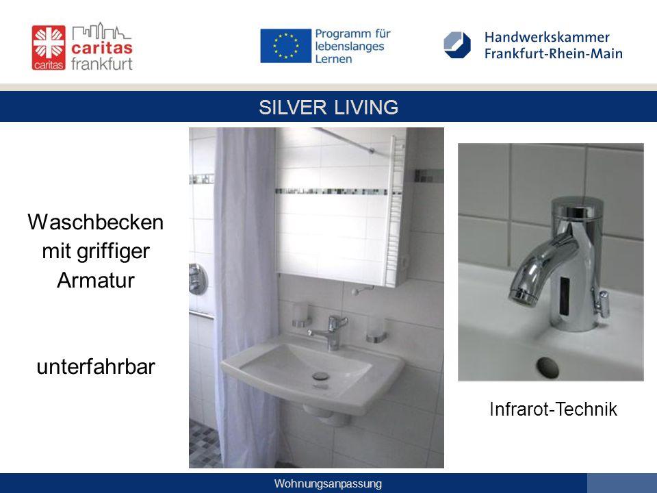 SILVER LIVING Wohnungsanpassung Waschbecken mit griffiger Armatur unterfahrbar Infrarot-Technik