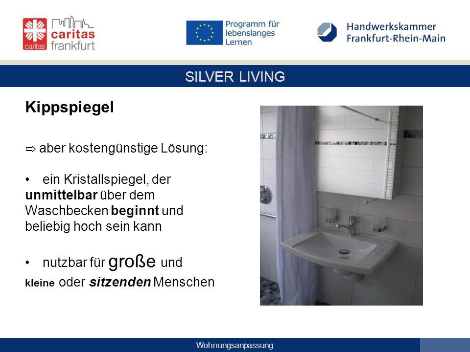 SILVER LIVING Wohnungsanpassung Kippspiegel ⇨ aber kostengünstige Lösung: ein Kristallspiegel, der unmittelbar über dem Waschbecken beginnt und belieb