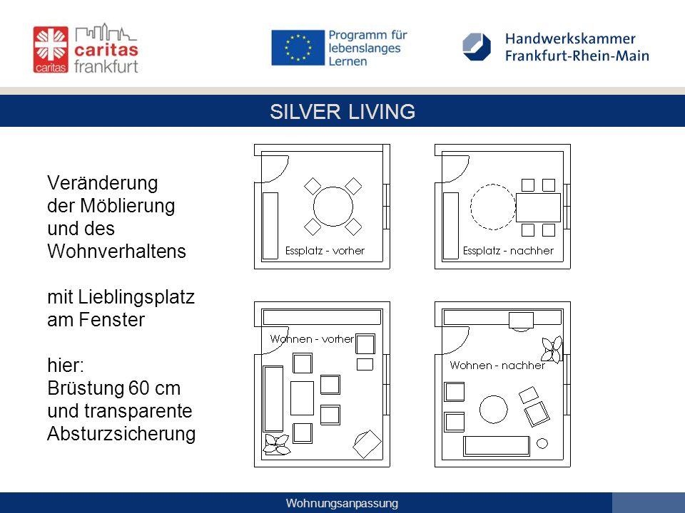 SILVER LIVING Wohnungsanpassung Veränderung der Möblierung und des Wohnverhaltens mit Lieblingsplatz am Fenster hier: Brüstung 60 cm und transparente