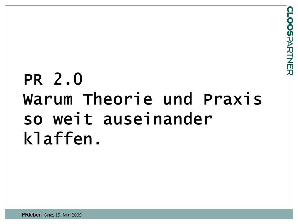PR 2.0 Warum Theorie und Praxis so weit auseinander klaffen. PRleben Graz, 15. Mai 2009