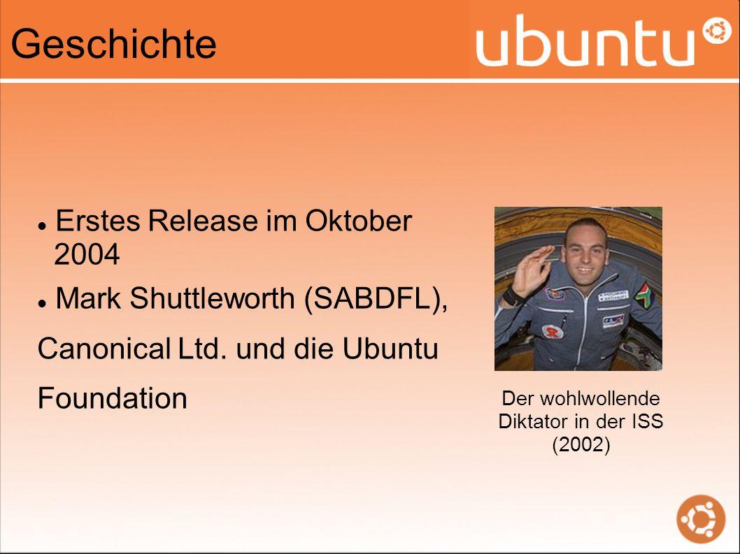 Geschichte Erstes Release im Oktober 2004 Mark Shuttleworth (SABDFL), Canonical Ltd.
