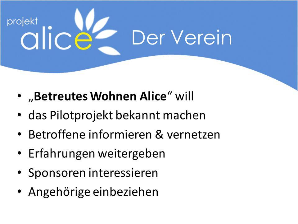 """""""Betreutes Wohnen Alice will das Pilotprojekt bekannt machen Betroffene informieren & vernetzen Erfahrungen weitergeben Sponsoren interessieren Angehörige einbeziehen Der Verein"""