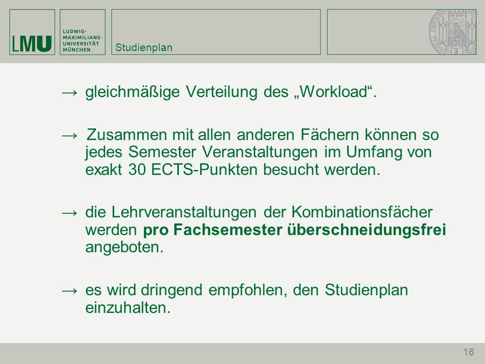 """Studienplan →gleichmäßige Verteilung des """"Workload"""". → Zusammen mit allen anderen Fächern können so jedes Semester Veranstaltungen im Umfang von exakt"""