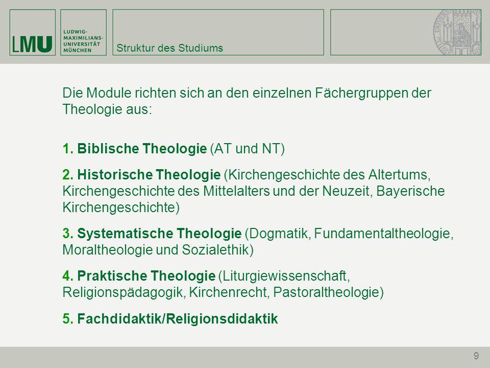9 Struktur des Studiums Die Module richten sich an den einzelnen Fächergruppen der Theologie aus: 1. Biblische Theologie (AT und NT) 2. Historische Th