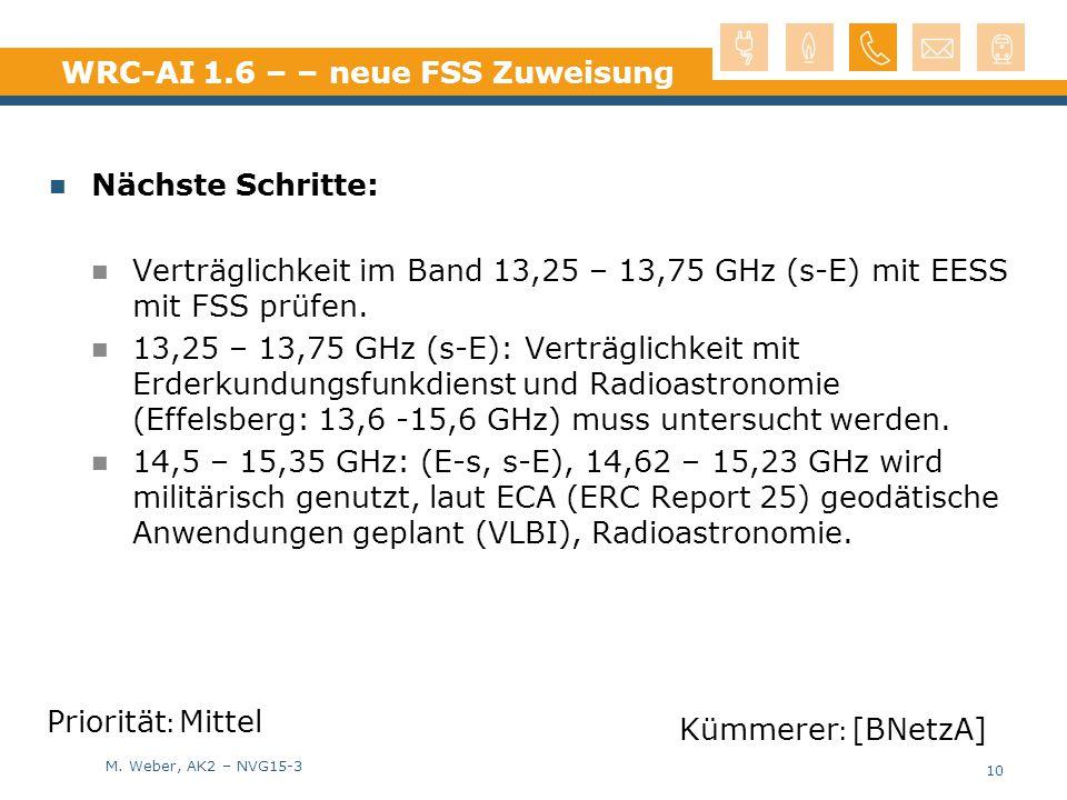 M. Weber, AK2 – NVG15-3 WRC-AI 1.6 – – neue FSS Zuweisung Nächste Schritte: Verträglichkeit im Band 13,25 – 13,75 GHz (s-E) mit EESS mit FSS prüfen. 1