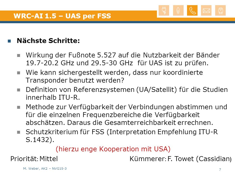 M. Weber, AK2 – NVG15-3 WRC-AI 1.5 – UAS per FSS Nächste Schritte: Wirkung der Fußnote 5.527 auf die Nutzbarkeit der Bänder 19.7-20.2 GHz und 29.5-30