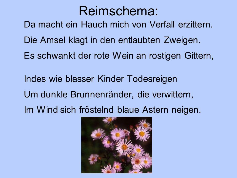 Reimschema: Da macht ein Hauch mich von Verfall erzittern. Die Amsel klagt in den entlaubten Zweigen. Es schwankt der rote Wein an rostigen Gittern, I