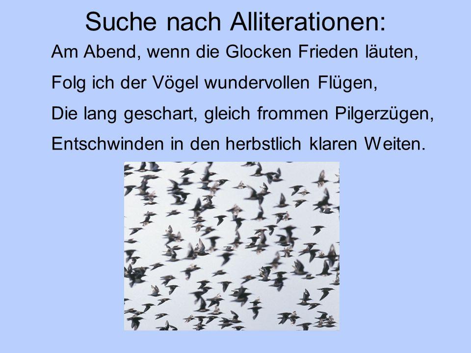 Suche nach Alliterationen: Am Abend, wenn die Glocken Frieden läuten, Folg ich der Vögel wundervollen Flügen, Die lang geschart, gleich frommen Pilger