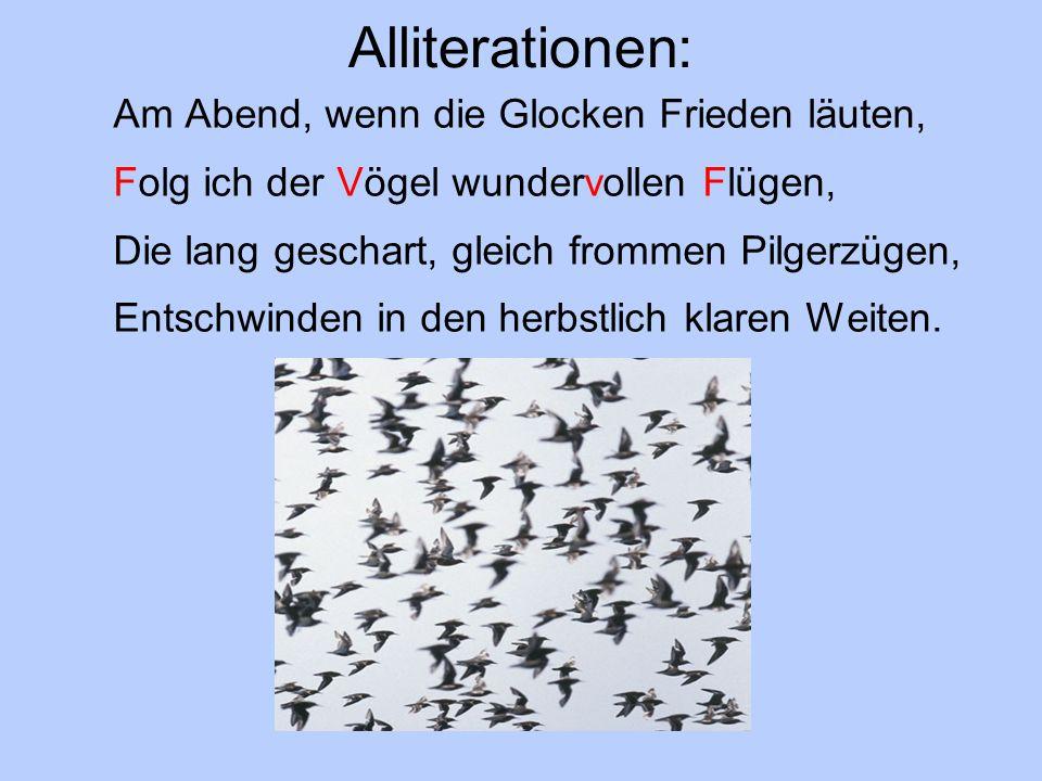 Alliterationen: Am Abend, wenn die Glocken Frieden läuten, Folg ich der Vögel wundervollen Flügen, Die lang geschart, gleich frommen Pilgerzügen, Entschwinden in den herbstlich klaren Weiten.